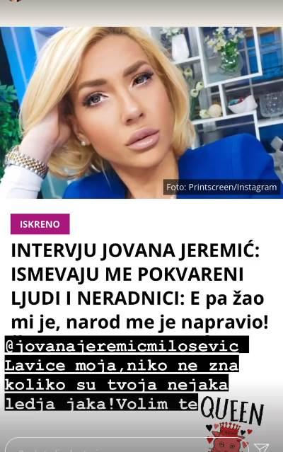 Ljupka Stević podržala Jovanu Jeremić