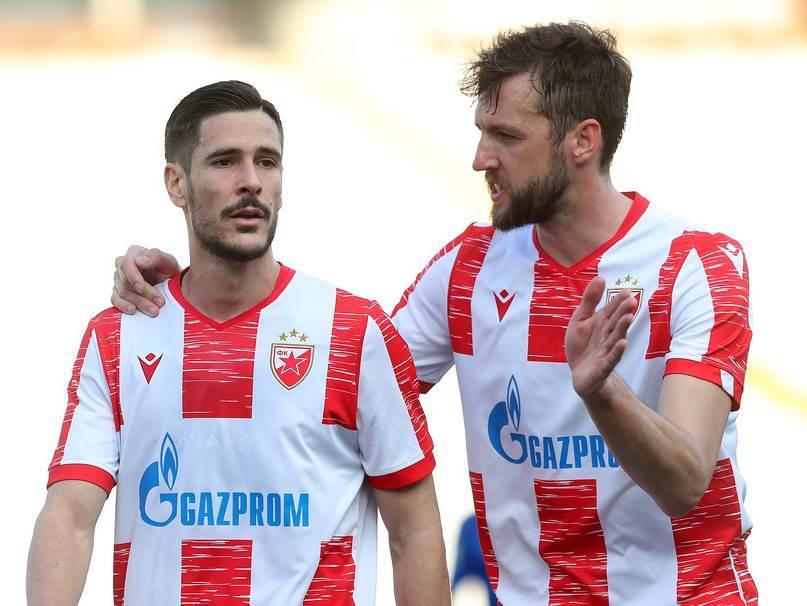 Fudbaleri Crvene zvezde Dijego Falćineli i Nemanja Milunović.