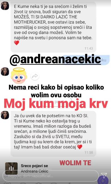 Darko Lazić i Andreana Čekić prepiska