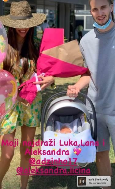 Luka Adžić i Aleksandra Ličina sa ćerkom