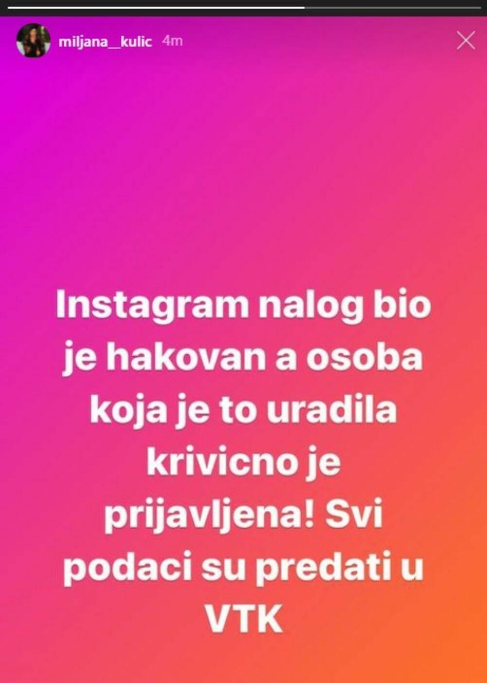 Miljana Kulić hakovan profil