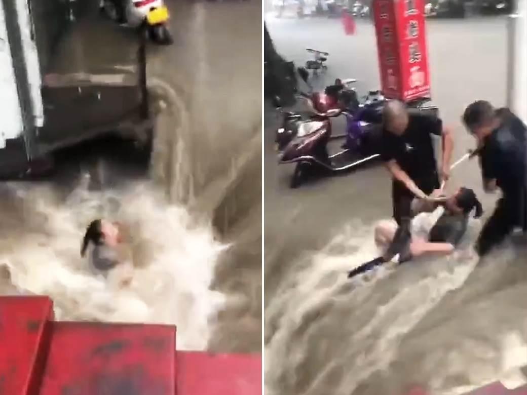 spašavanje žene poplava kina