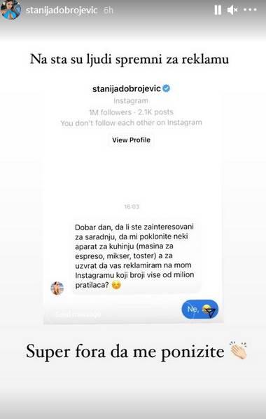 Stanija Dobrojević se nudi za reklamu