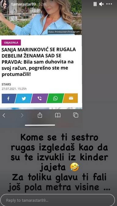 Tamara Đurić isprizivala Sanju Marinković