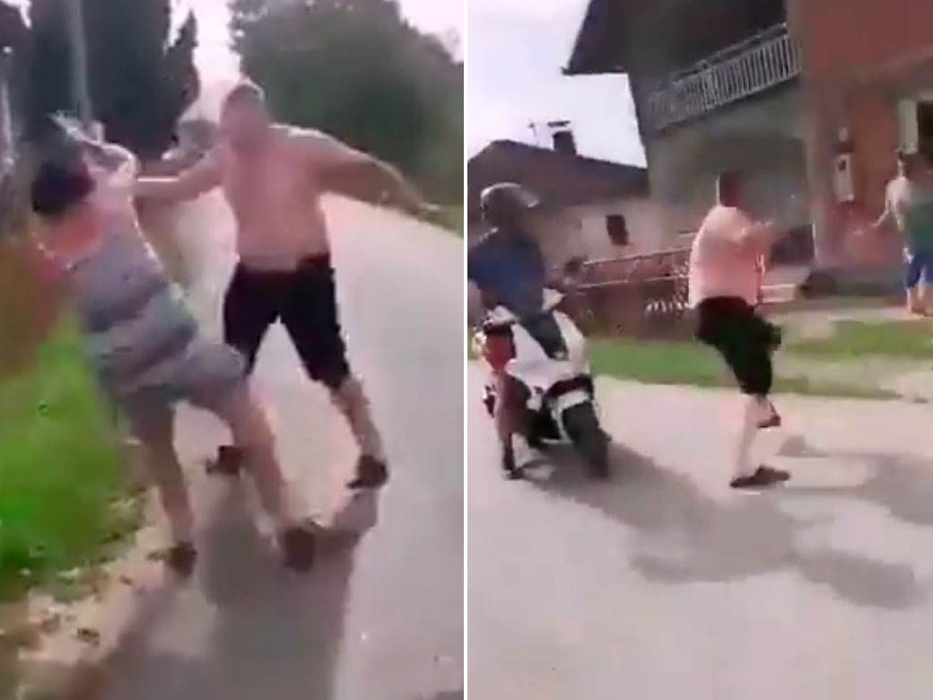 Čovek udara šipkom ženu