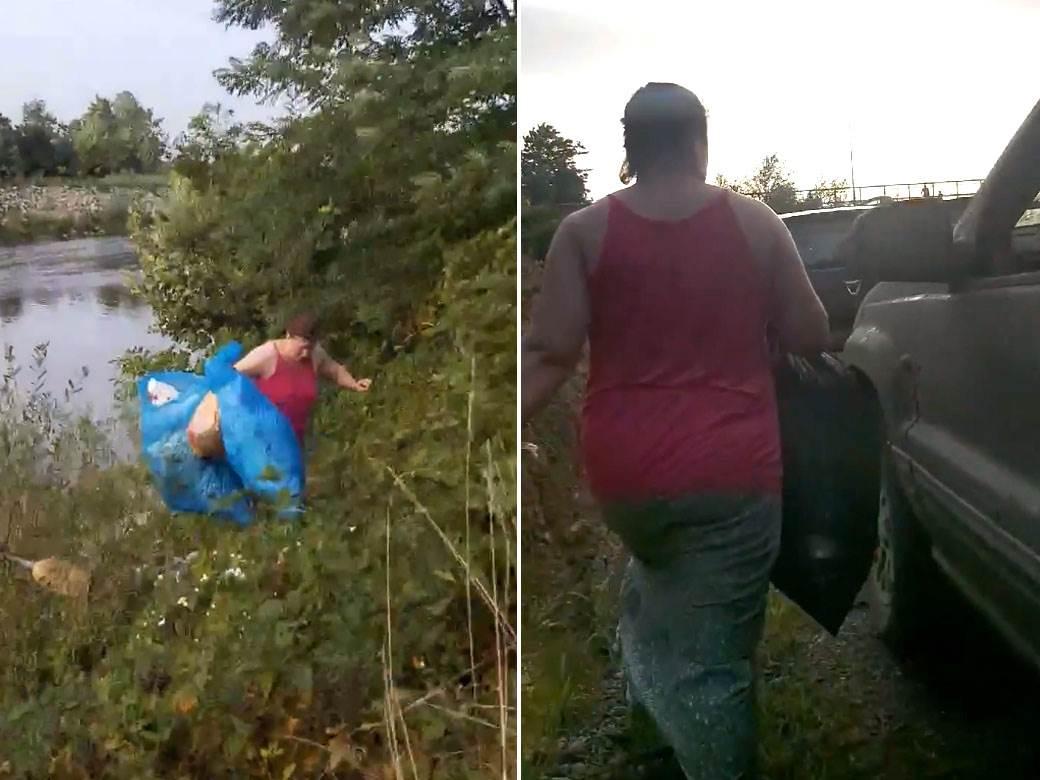 žena baca smeće đubre u reku