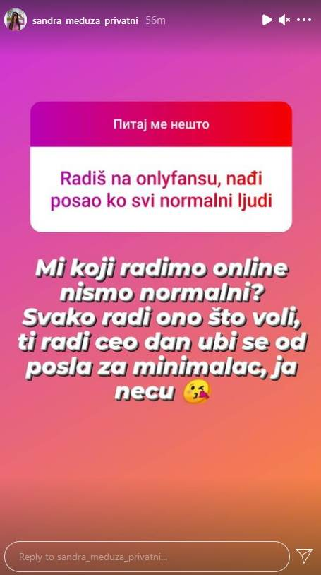 Sandra Meduza post na Instagramu