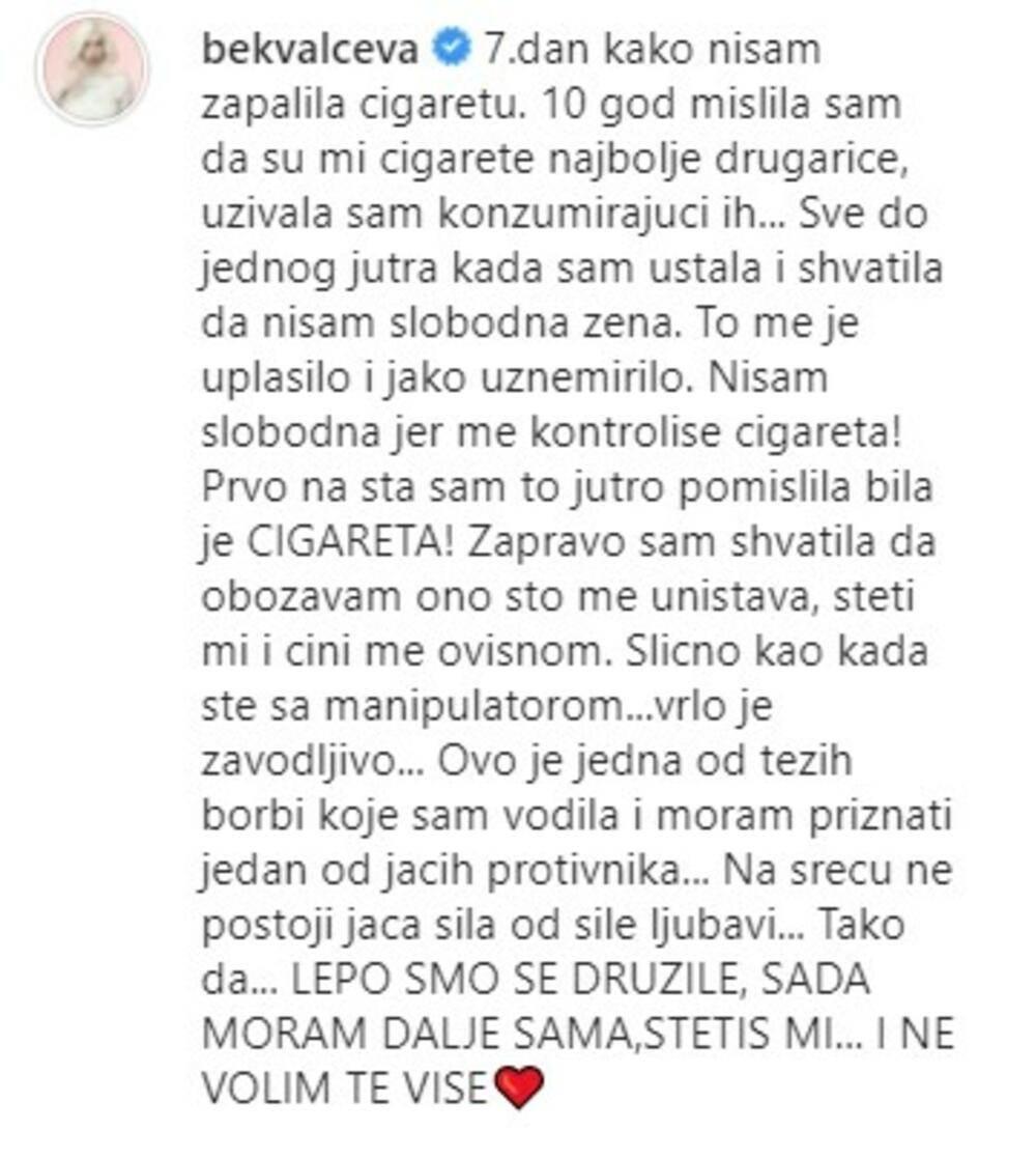 Nataša Bekvalac ostavila cigarete