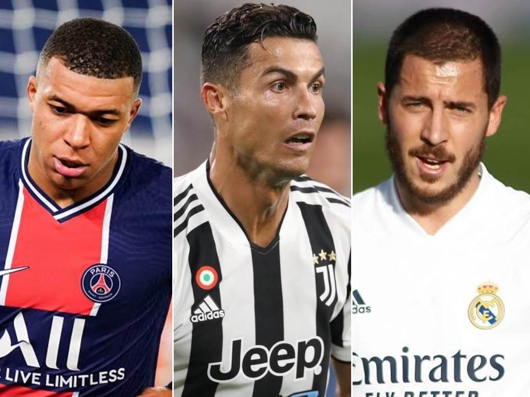 Kilijan-Mbape,-Kristijano-Ronaldo,-Eden-Azar