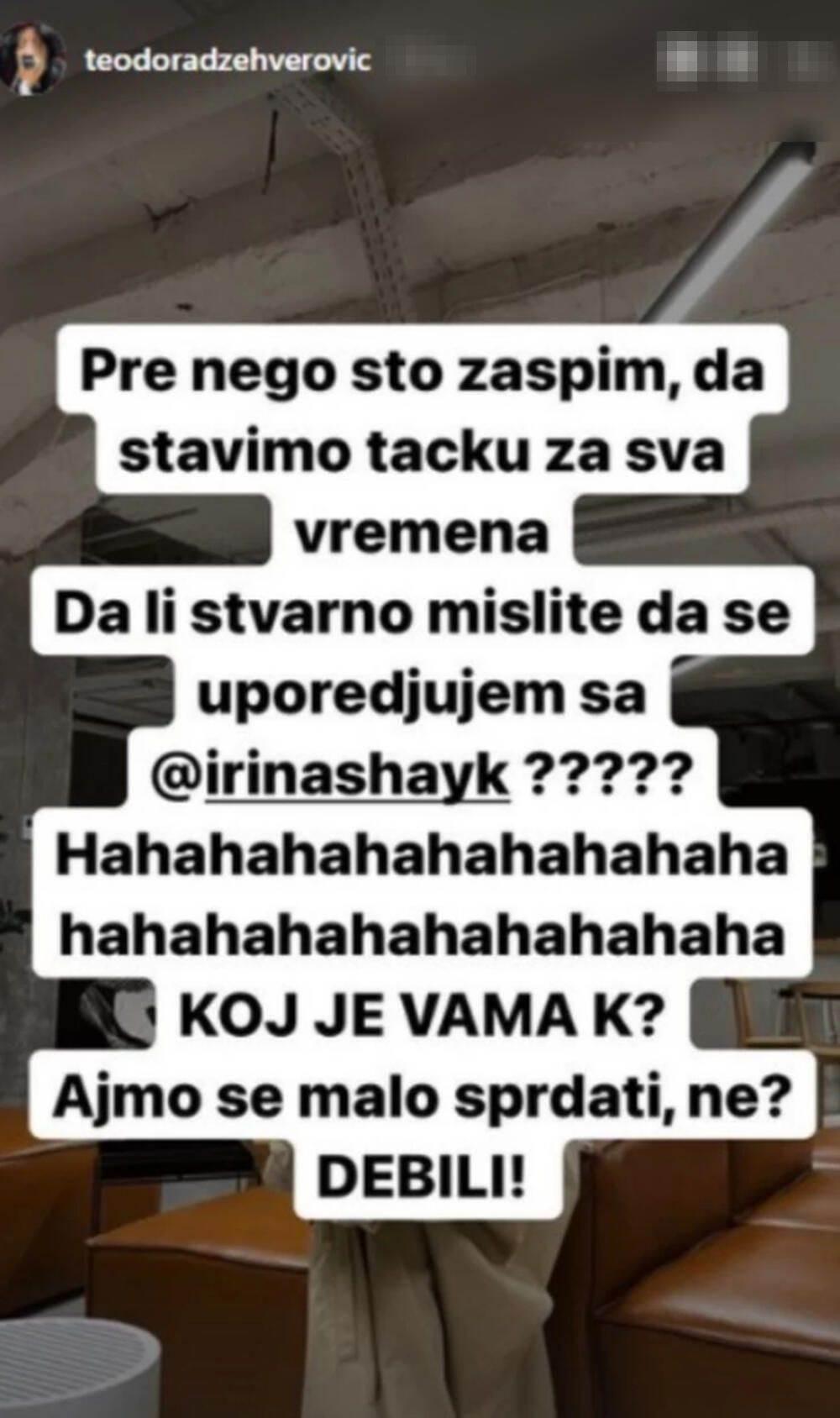 Teodora Džehverović burno reagovala