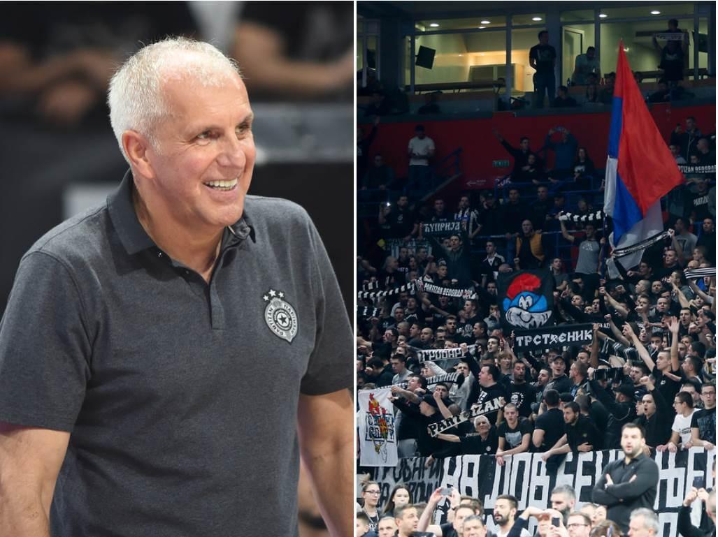 Željko Obradović i navijači Partizana