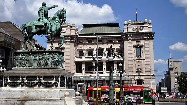 Beograd, centar, trolejbus, Trg Republike, Narodno pozorište, konj, trg republike