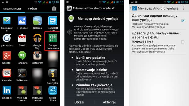 Android Device manager,Aplikacije