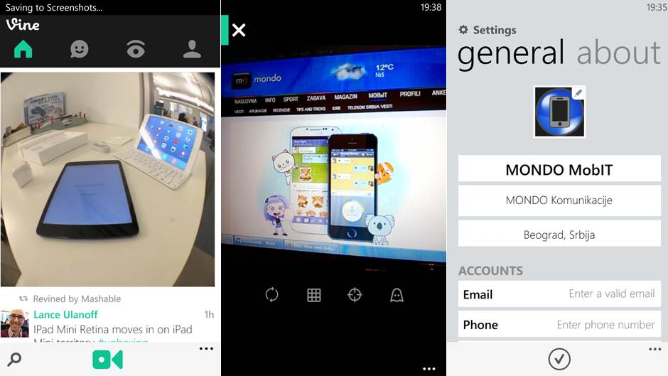 Jednostavan interfejs Vine aplikacije sa odličnim live tile opcijama za Windows Phone.