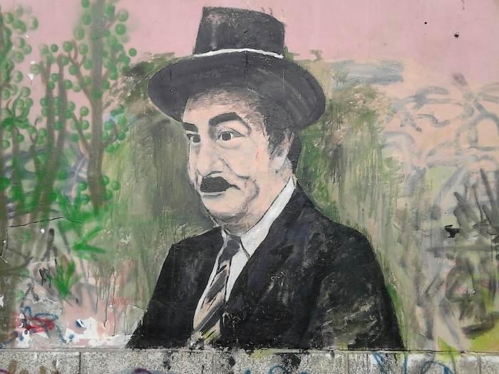 """Bata Stojković u filmu """"Maratonci trče počasni krug"""". Ovaj grafit se nalazi u banjalučkom naselju Hanište."""