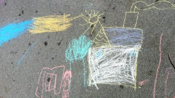 dečiji crtež, krede