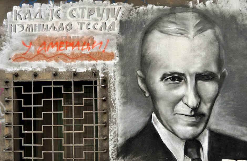 grafit, mural, grafiti, nikola tesla