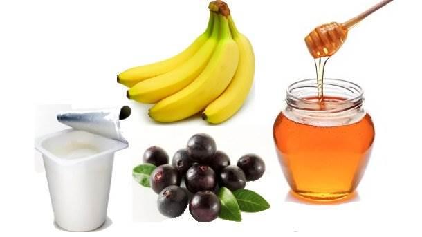 banane, med, akai, jogurt