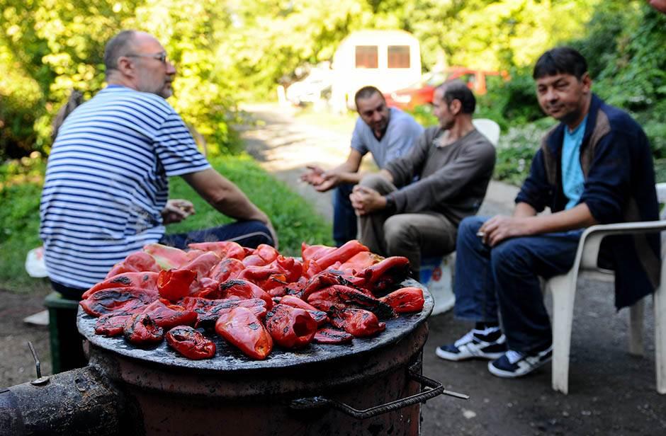 paprike, zimnica, jagnje, pečenje, peče paprike, peku paprike, jagnje, ražanj,