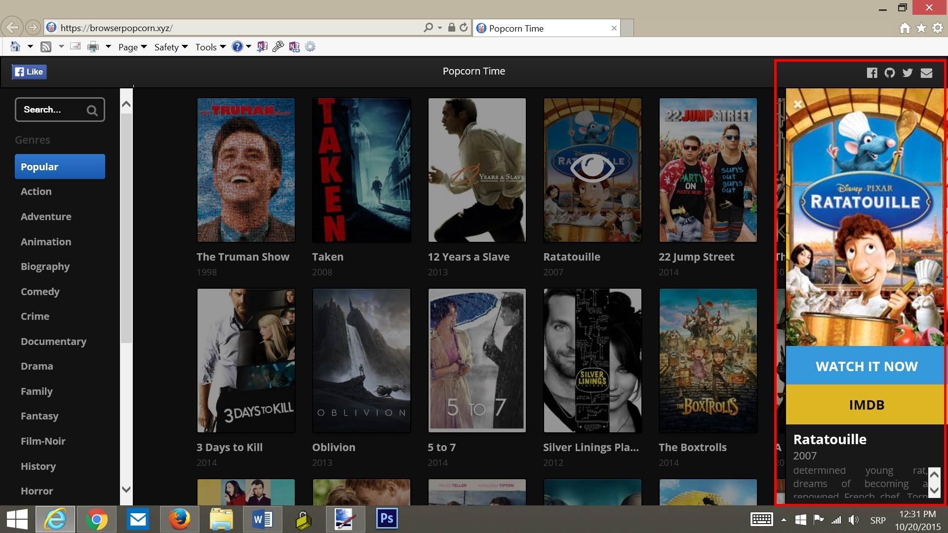 Vratio se piratski onlajn bioskop: PopCorn Time