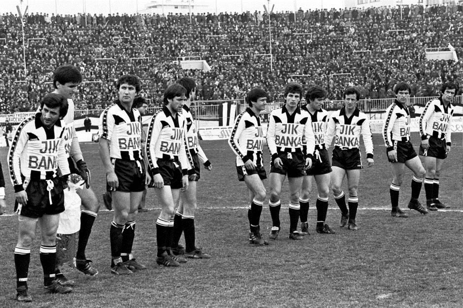 Partizan - Dinamo, 1980. Sastav crno-belih: Vukotić, Zalad, Hatunić, Pavković, Živković, Santrač, Varga, Kunovac, Klinčarski, Trifunović i Đurović.
