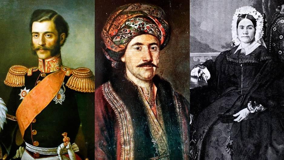 Knez Miloš (u sredini) sa decom Mihailom i Petrijom