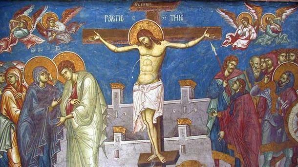 Freska raspeća Isusa Hrista u manastiru Visoki Dečani.