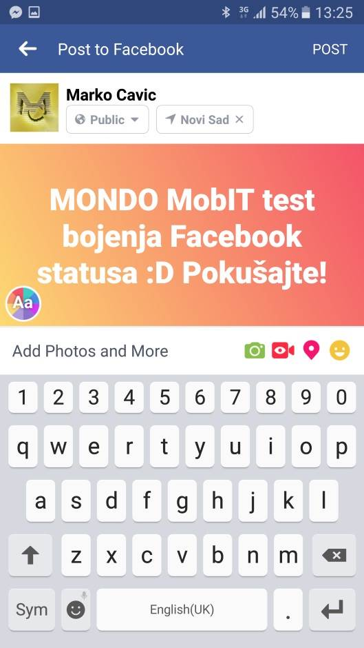 Kako da obojite Facebook status