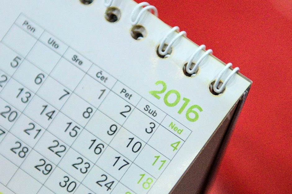 kalendar 2016, kalendar, datum, 2016, nedelja, dani u nedelji, ponedeljak, utorak, sreda, četvrtak, petak, subota, nedelja
