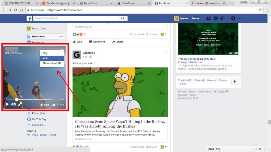 Facebook plutajući video