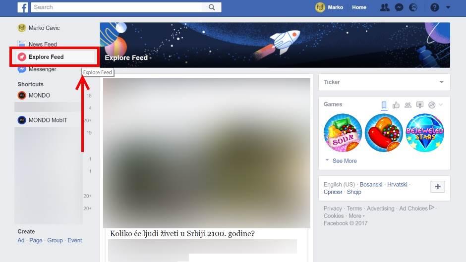 FB, Fejsbuk, Facebook, Explore Feed