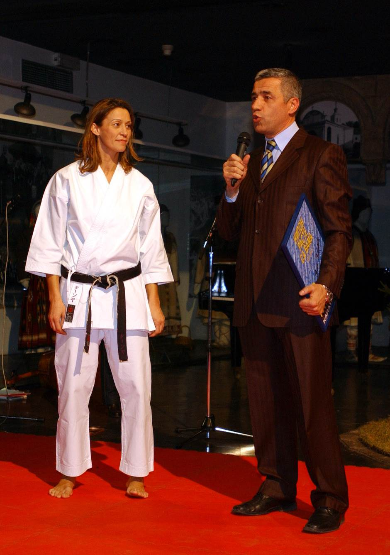 Tanja Petrović i Oliver Ivanović u Beogradu 28. decembra 2007. godine na proslavi 10 godina Karate kluba Nipon.