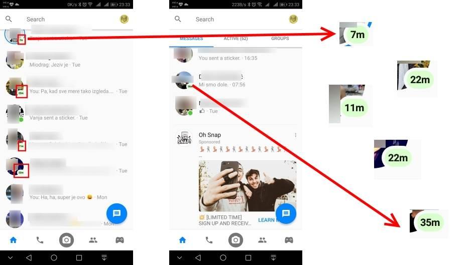 Messenger aktivnost korisnika