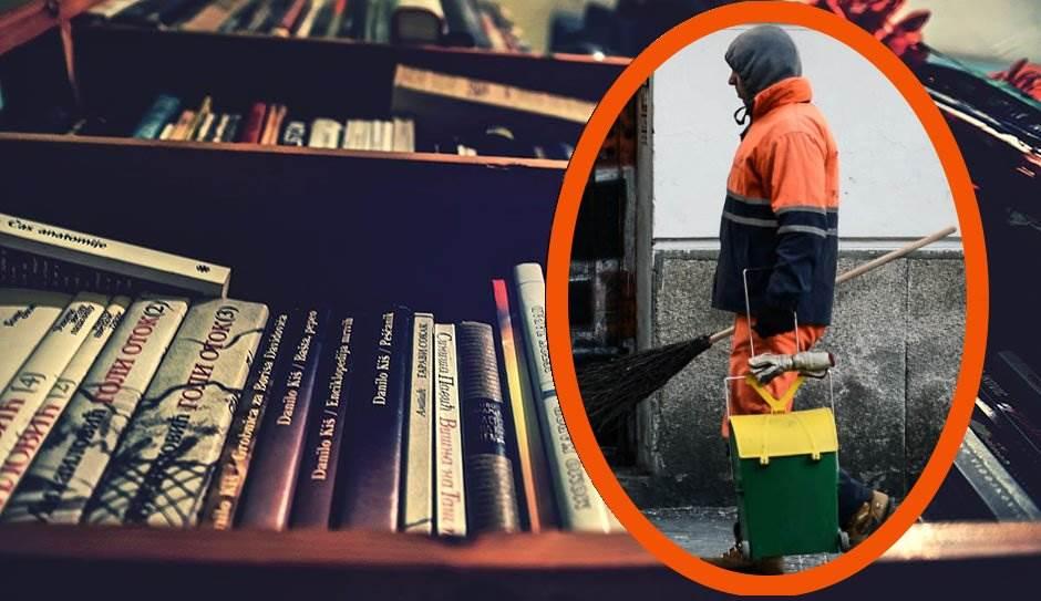 đubretar, knjige, knjiga, biblioteka