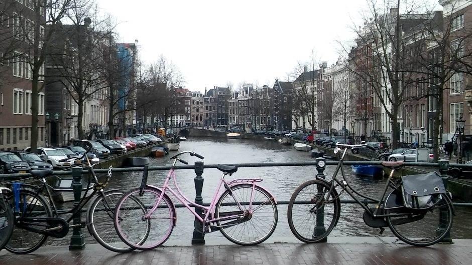 holandija, amsterdam, kanal, bicikl