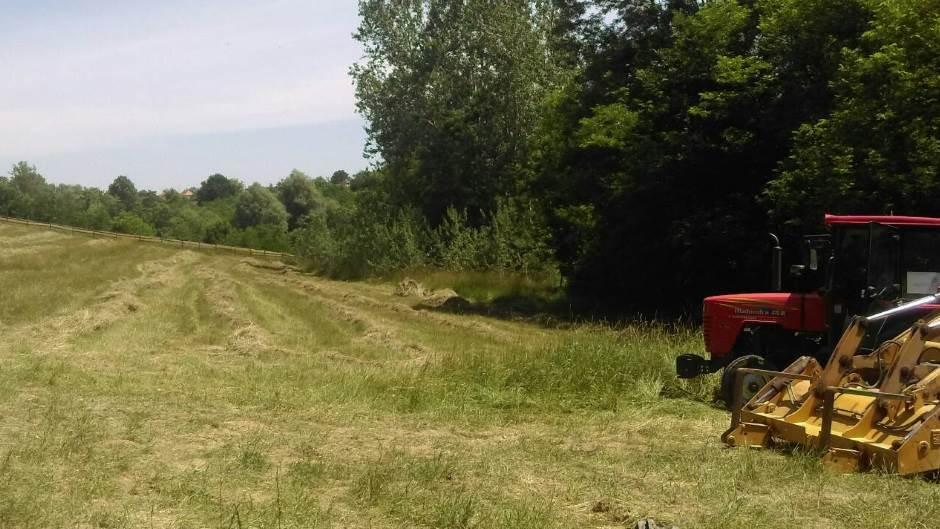 traktor, livada, poljana, selo