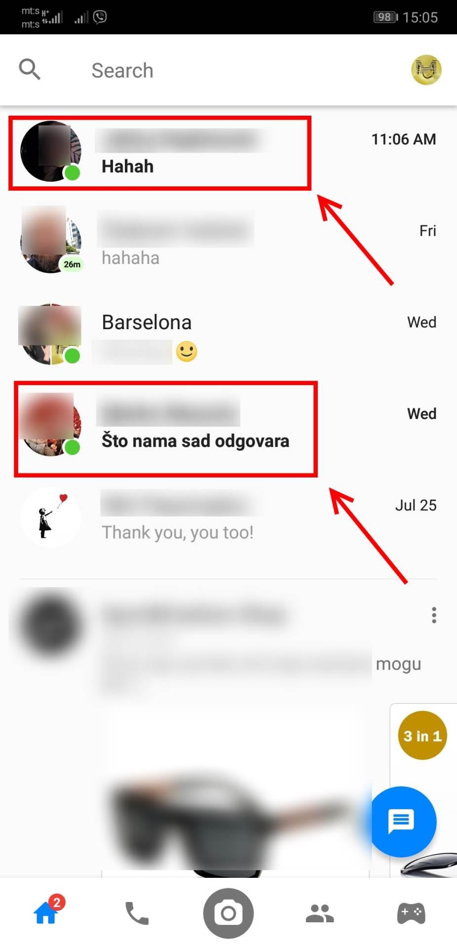Kako pronaći SKRIVENU NEPROČITANU Messenger poruku