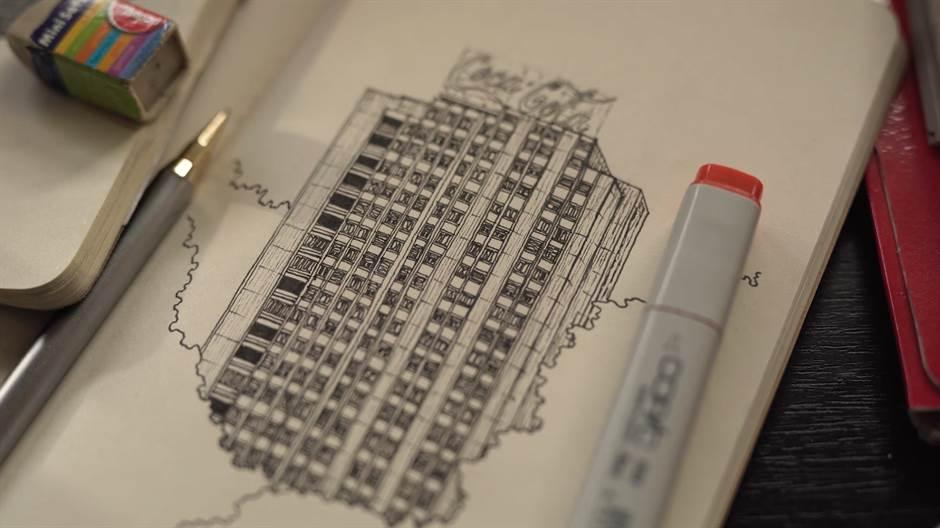 crtanje, crtež, beograd, zgrada