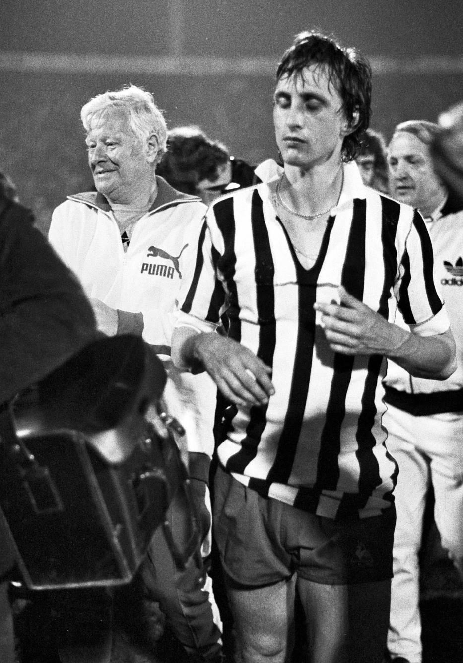 Legenda Ajaksa Johan Krojf u Beogradu 1973, posle pobede nad Juventusom u finalu Kupa šampiona.