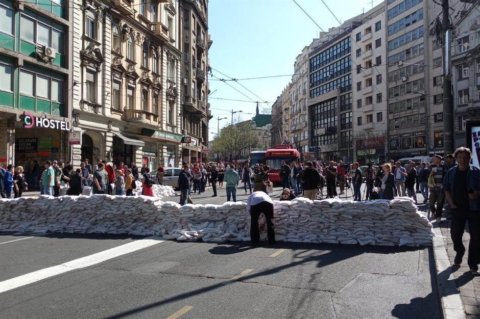 Blokada Kolarčeve - protest zbog radova u centru
