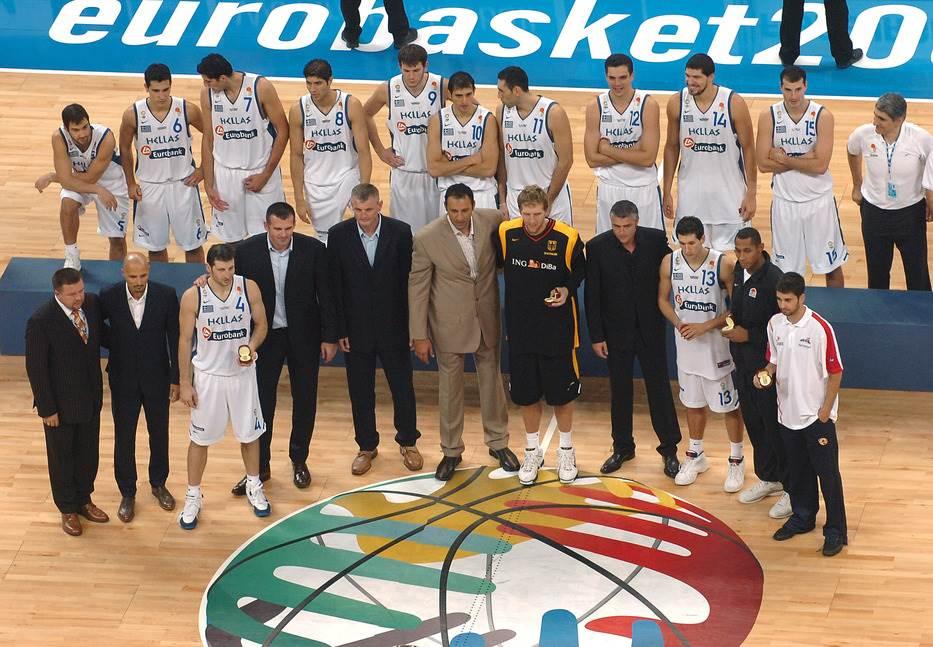 Novicki Divac Danilović Dijamantidis Dijao Savić Papalukas Eurobasket 2005