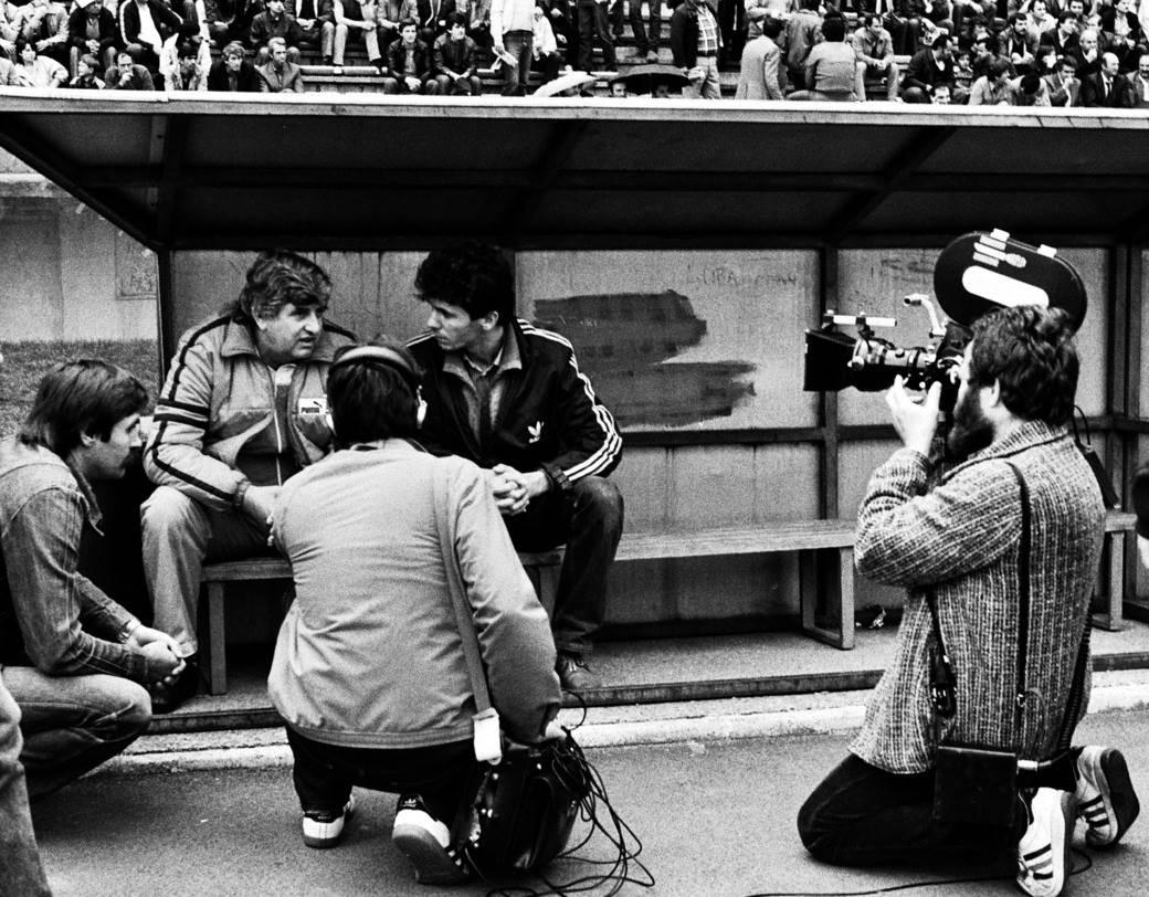 Trener Crvene zvezde Gojko Zec i novinar Radio-televizije Beograd Duško Korać (16.05.1984.)