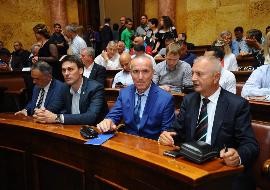 Dodela Majskih nagrada za sport u Domu narodne skupštine. Zoran Gajić, Ivan Knežević, Zoran Simović, Velizar Đerić, avgust 2018.