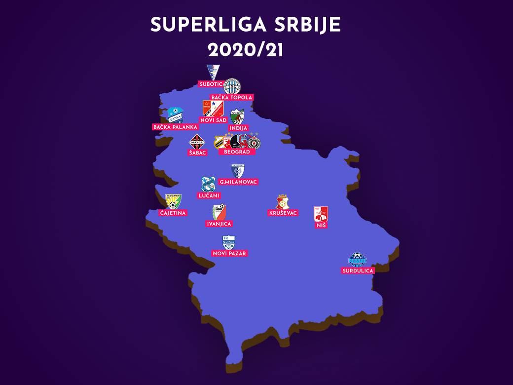 superliga srbije, mapa srbije, superliga