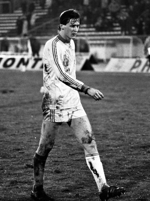 Nenad Gračan, fudbaler Rijeke, na utakmici protiv Partizana. Beograd, 21.11.1984.