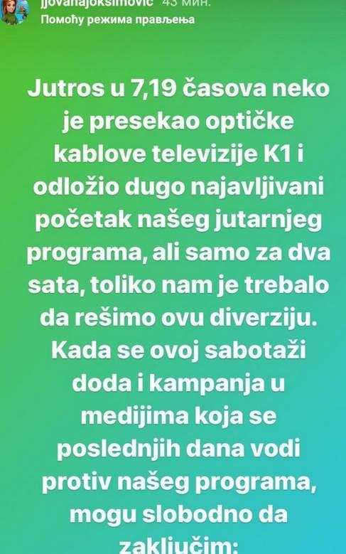 jovana joksimović poruka na instagramu