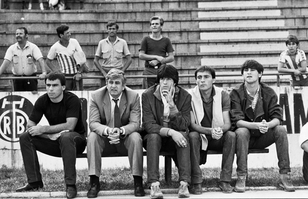 Gojko Zec, Stevan Stojanović, Zarko Đurović i Goran Milojević, pre utakmice. Beograd, 07.08.1983.