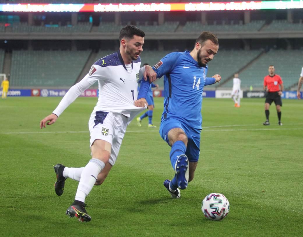 AZERBAIJAN vs SERBIA. Baku, 30.03.2021. foto: Marko Metlas Fudbal, FIFA kvalifikacije za SP Katar, Azerbejdzan, Srbija