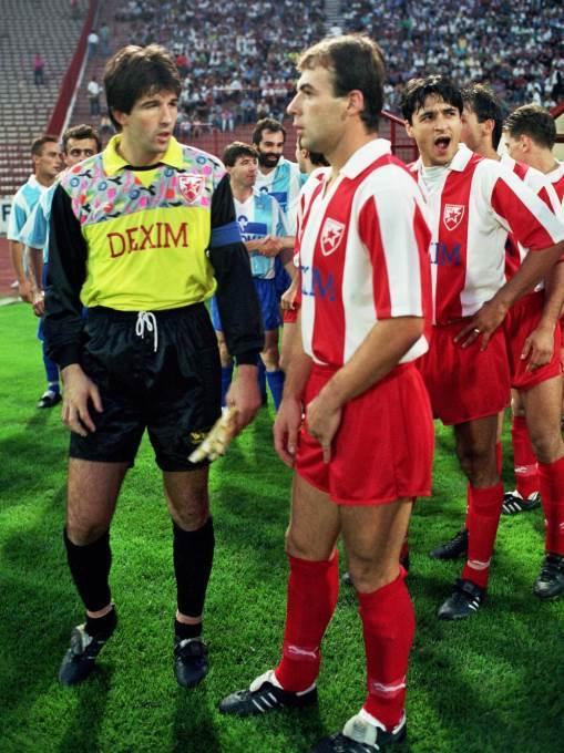 FUDBAL - Crvena zvezda - Rad 2:0. STEVAN STOJANOVIC, ILIJA NAJDOSKI i DARKO PANCEV, CZ. Beograd, 12.08.1990. photo:T.Mihajlovic