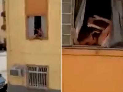 trudna žena iskoči kroz prozor